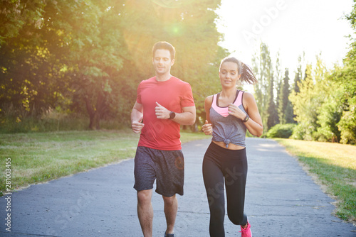 Discussion during the jogging with girlfriend