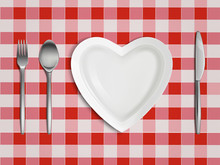 Heart Shaped Plate, Fork, Spoon And Knife On Checkered Tablecloth In Red And White Colors Top View, Empty Table Setting, Valentine Day Romantic Dish, Love Symbol. Realistic 3d Vector Illustration