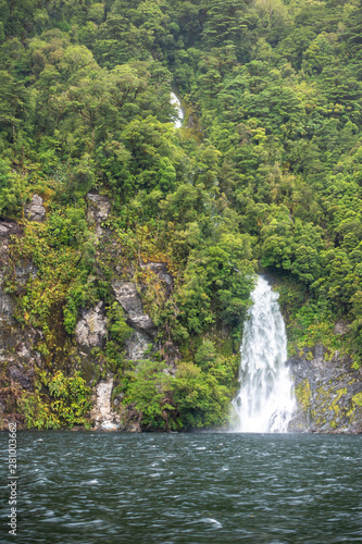 Waterfall At Doubtful Sound Fiordland National Park New