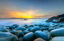 Beautiful Sunrise At Rock Like Eggs Beach In Quy Nhon Bay, Vietnam