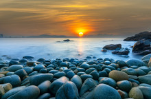 Beautiful Sunrise At Rock Like Eggs Beach In Quy Nhon Bay, Vietnam