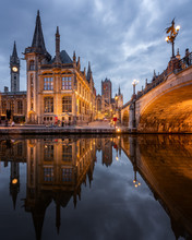Old Post Office And St. Nicholas' Church From The Side Of Michielsbrug (St. Michael's Bridge), Ghent, Flanders, Belgium