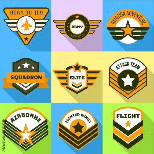 Airborne logo set Wallpaper Mural