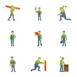 Carpenter icon set. Cartoon set of 9 carpenter vector icons for web design isolated on white background