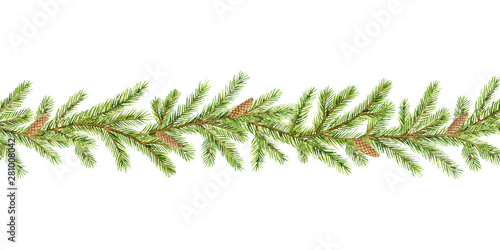 Watercolor vector Christmas garland with fir branches and place for text Obraz na płótnie