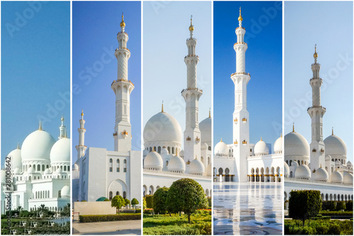 Canvas Prints Abu Dhabi Collage from different pictures of beautiful views of Sheikh Zayed mosque