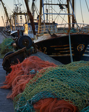 Trawlers Alongside And Nets, Newlyn, Cornwall