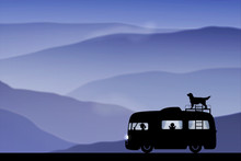 Cartoon Retro Car On Road At Dusk. Vector Illustration With Silhouettes Of People And Dog Traveling In Camper. Family Road Trip. Background With Mountain Foggy Landscape