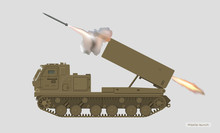 Missile Vehicle In Realistic Style. Rocket Artillery. 3d Image Of Military Tractor With Jet Weapon. Camouflage Tank