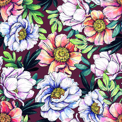 Floral seamless pattern. Hand drawing with watercolor and graphics.