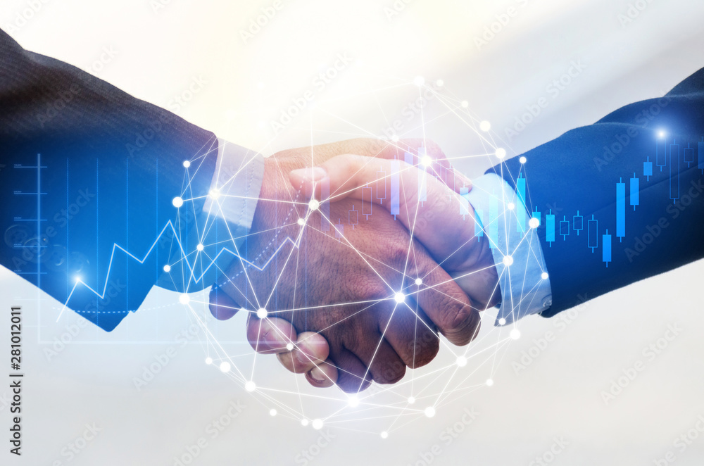 Fototapety, obrazy: Deal. business man shaking hands with effect global network link connection and graph chart of stock market graphic diagram, digital technology, internet communication, teamwork, partnership concept