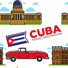 Cuban Symbols Car And Architecture Cabriolet And Building Seamless Pattern