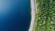 Aerial View Of White Caravan C...