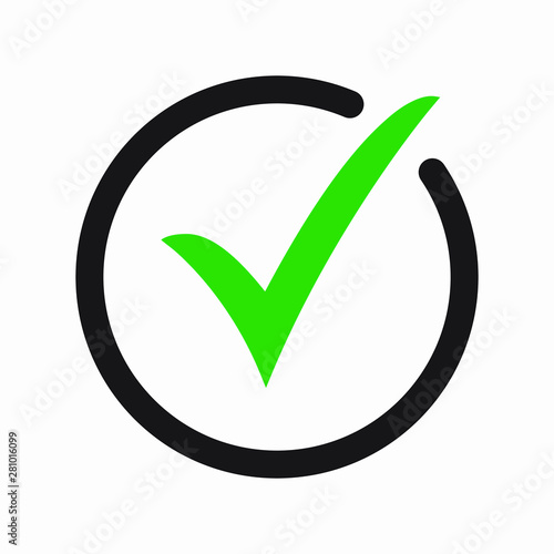 Green tick icon vector symbol, checkmark isolated on white background, checked icon or correct choice sign, check mark or checkbox pictogram Fototapete