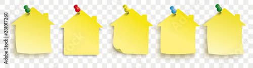 Yellow Paper House Stickers Colored Pins Transparent Canvas Print