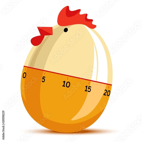 Egg timer clock in form of hen chicken clock cooking Canvas Print