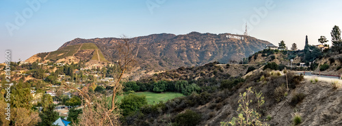 Fototapeta hollywood hills and surrounding landscape near los angeles