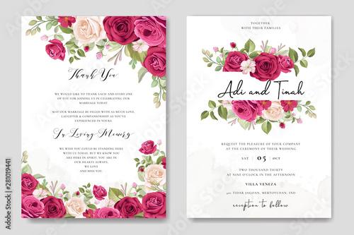Fototapeta elegant wedding card design with beautiful roses wreath template obraz