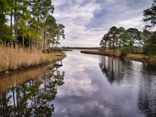 Cloudy Afternoon At Basin Bayou In Freeport, Florida