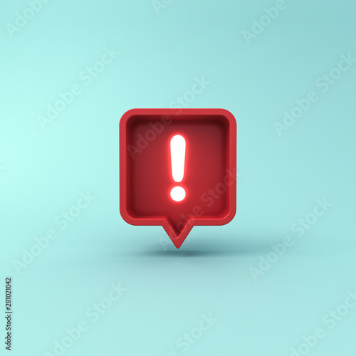 3d social media notification neon light Exclamation mark icon in red rounded square pin isolated on blue pastel color background with shadow 3D rendering