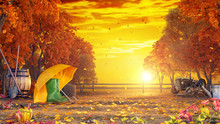 Autumn Colorful Background At Sunset 3D Rendering