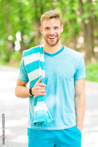 Sportsman promoting a healthy lifestyle Canvas Print