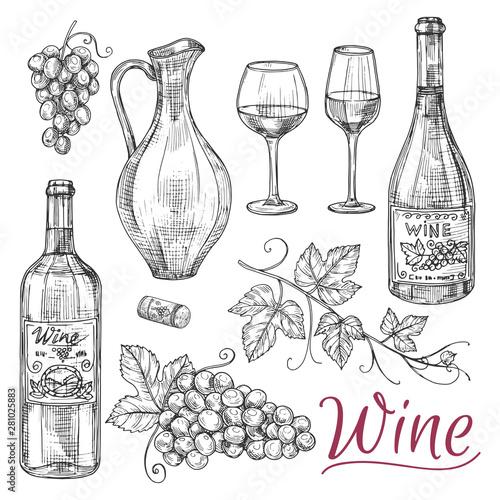 Foto Sketch wine vector elements - bottles, glasses, grapes and jug