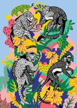 Four Monkeys Eating Bananas On...