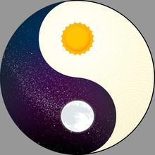 Cosmological Yin Yang With Sun And Moon. Night And Day.