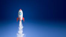 Cartoon Spaceship Flying In The Blue