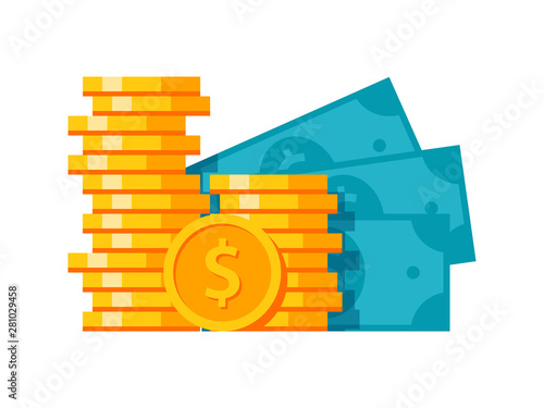 Fototapeta Money stylish modern illustration with coins and banknotes obraz