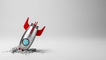 Cartoon Spaceship Crashed On White Background