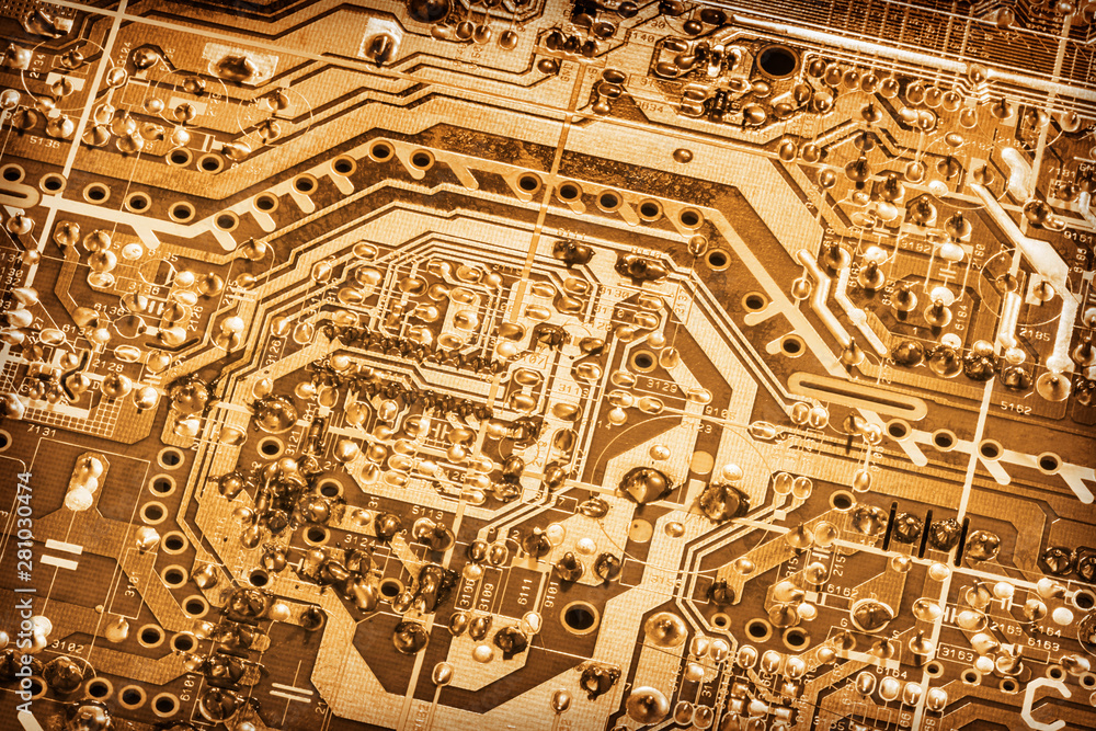 Fototapety, obrazy: Computer Electronic Microcircuit Motherboard Detail Gold Colored Monochrome Vignette Background