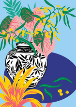Flowervase With Plants And Leaves On Blue Table