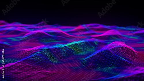 Foto auf Gartenposter Violett Cybernetic futuristic background. Big data visualization. Technological 3D landscape. Abstract grid illustration. 3D rendering. Artificial intelligence.