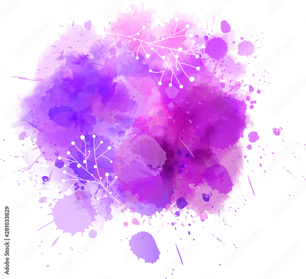 Fototapety, obrazy: Abstract watercolor paint splash with florals