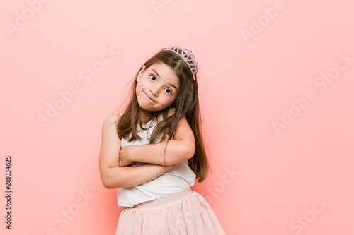 Little girl wearing a princess look unhappy looking in camera with sarcastic expression Tablou Canvas