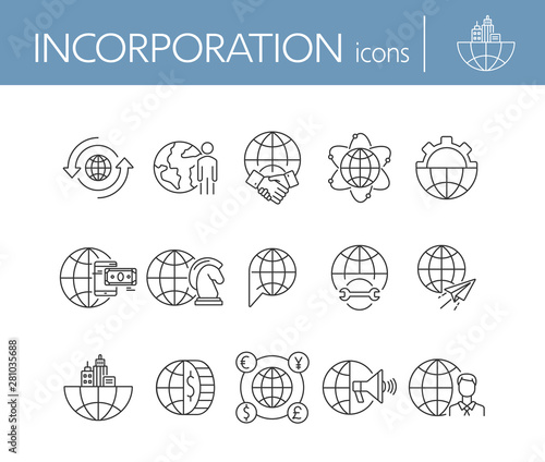 Fotografija Incorporation line icon set