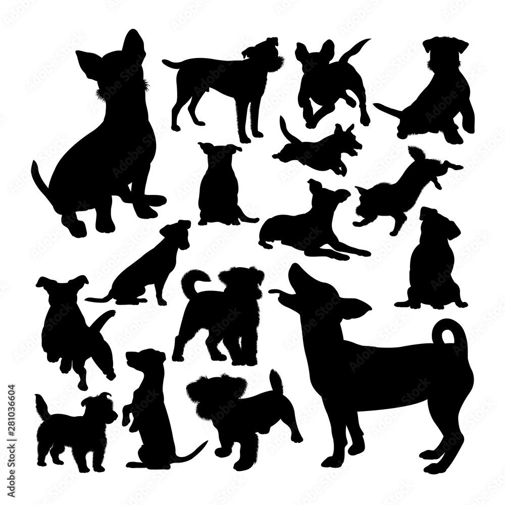 Fototapety, obrazy: Jack russell dog animal silhouettes. Good use for symbol, logo,  web icon, mascot, sign, or any design you want.
