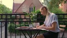 Beauty Caucasian Woman With Pigtails Haircut Sitting On Terrace Paint Wait Chill Study Salon Loft Summer