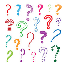 Questions Marks Hand Drawn Colorful Illustrations Set. Vector Elements For Kids And Children On White Background