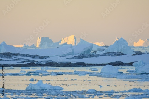 Autocollant pour porte Antarctique Levé de soleil en Antarctique