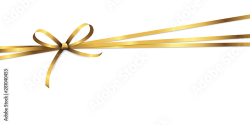 golden colored ribbon bow Fototapete