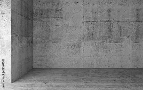 Fotografie, Obraz Abstract empty gray concrete room interior