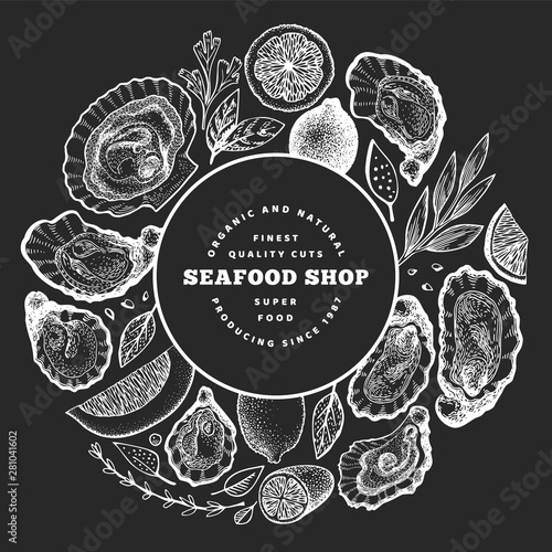 Valokuvatapetti Oysters and spices design template
