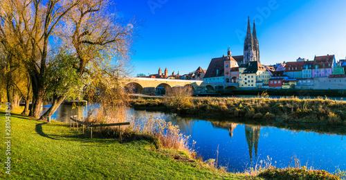 Travel in Germany - beautiful town Regensburg over Danube river in Bavaria Canvas Print
