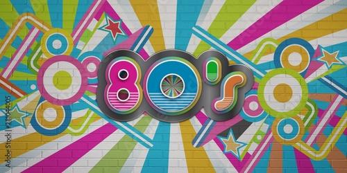 Valokuva  80s Party illustration banner. 3D Render Illustration