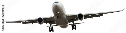 Poster Avion à Moteur flying modern airplane on isolated white background