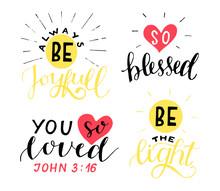 Set Of 4 Hand Lettering Christ...