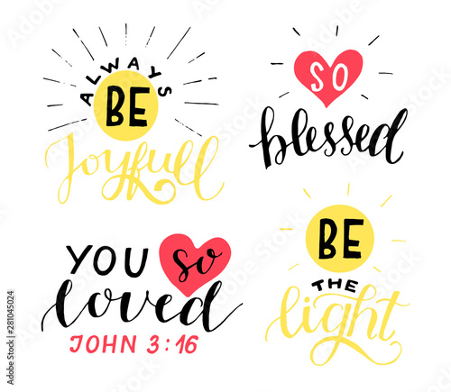 Photo Set of 4 Hand lettering christian quotes Be joyful